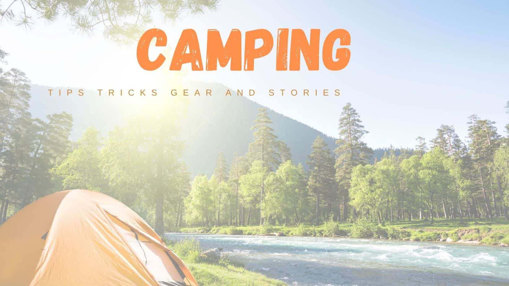 Camping in tent along a mountain stream
